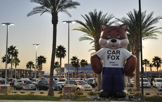 CARFAX Car Fox in Front of Car Dealership