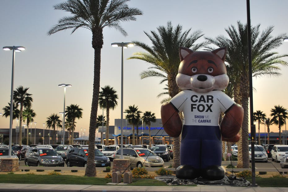 CARFAX Car Fox in Front of Car Dealership