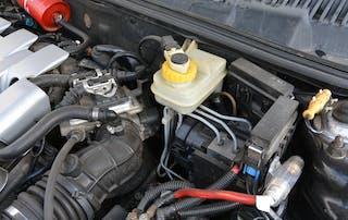 brake fluid reservoir and master cylinder in engine bay
