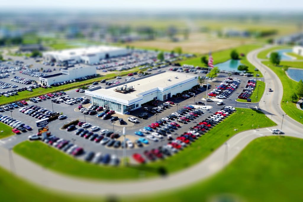 Car dealership aerial view