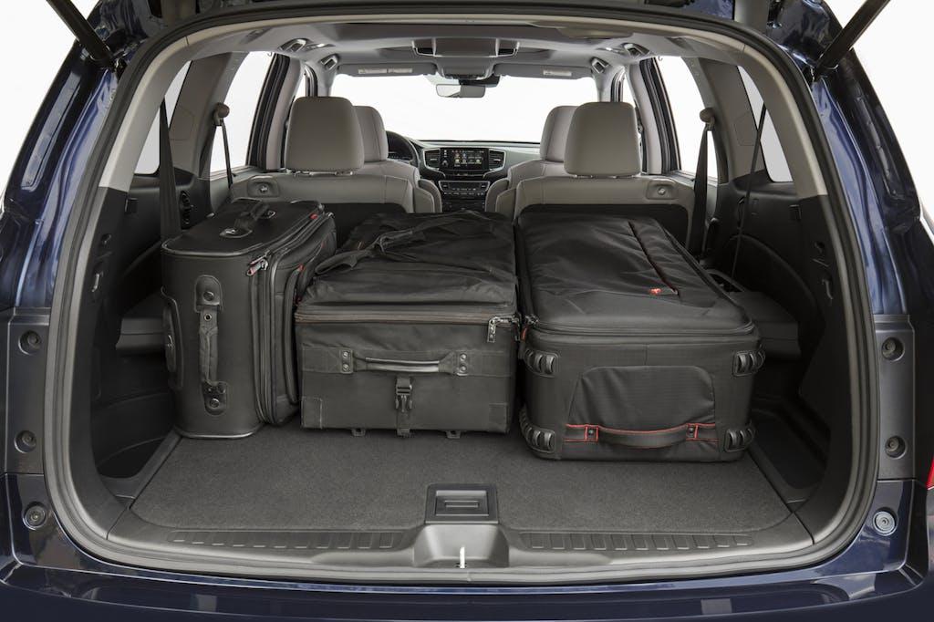Honda Pilot cargo area with luggage