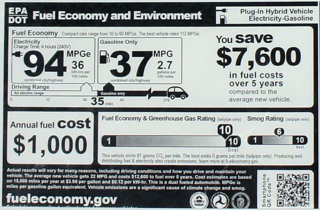 EPA Window sticker for the 2012 Chevrolet Volt