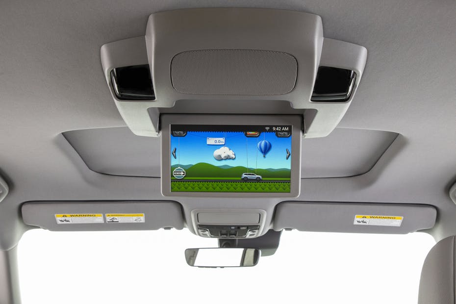 Inside of a Car with a TV Screen