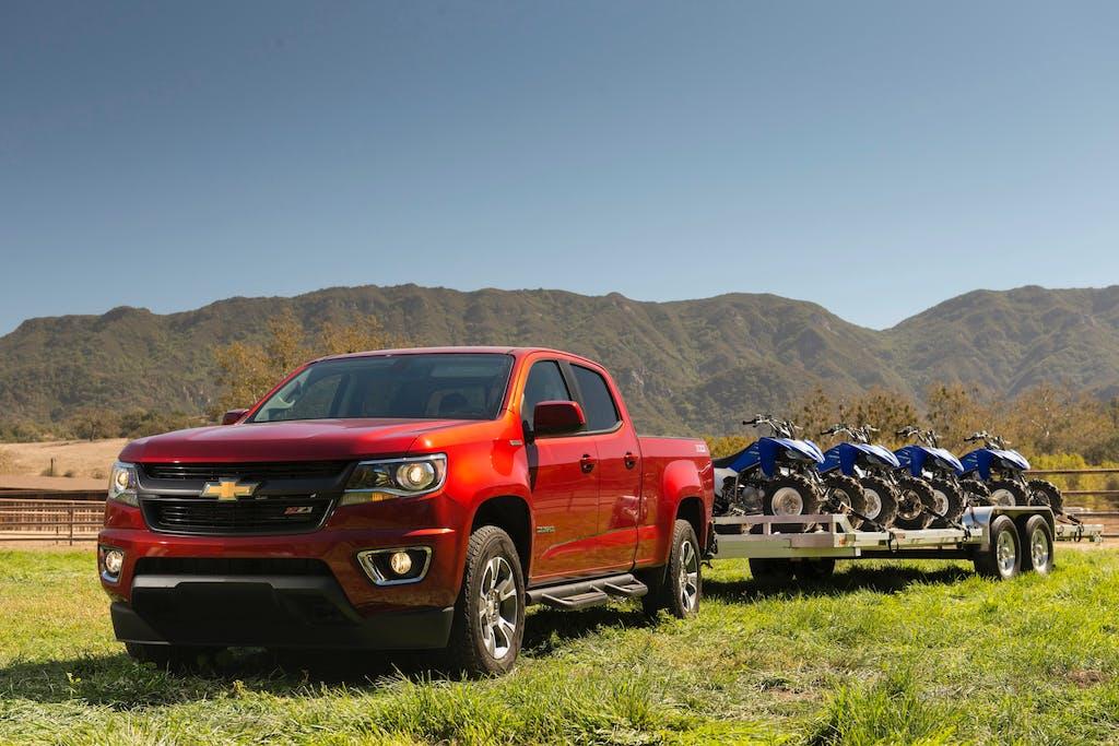 Red 2018 Chevrolet Colorado Diesel towing