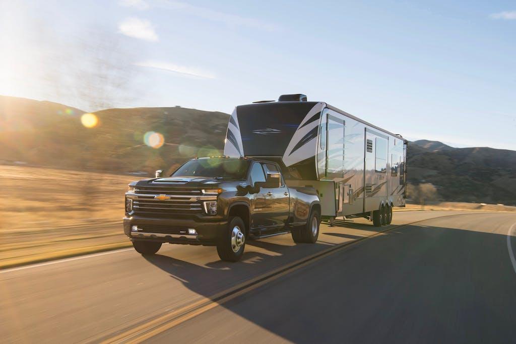 2020 Chevrolet Silverado 3500 HD DRW High Country Towing an RV