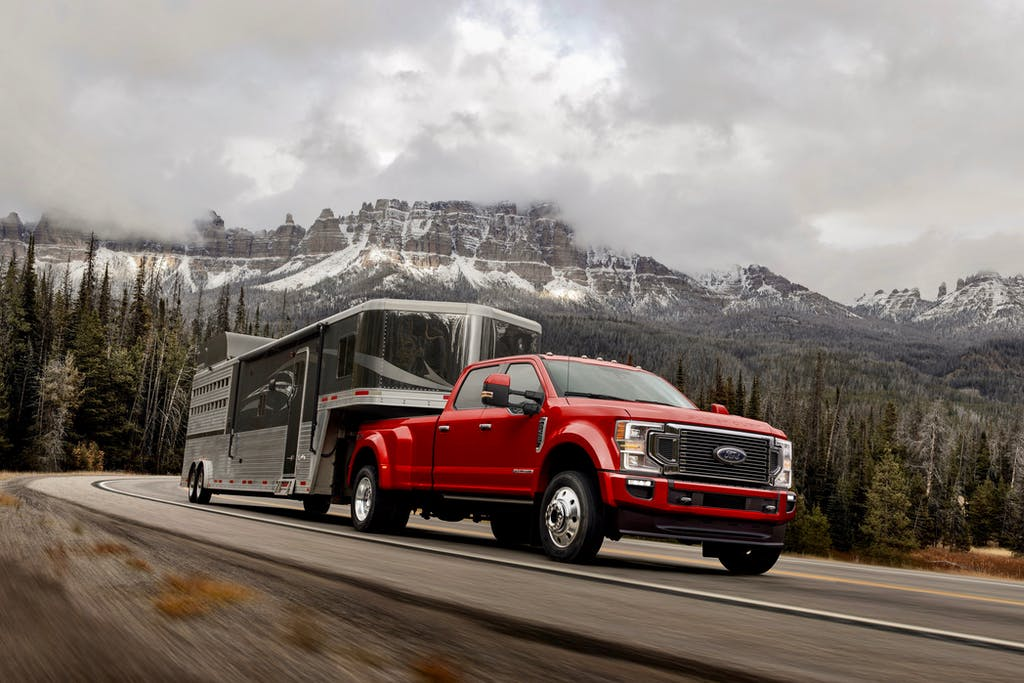 Red 2020 Ford F-450 Towing Trailer