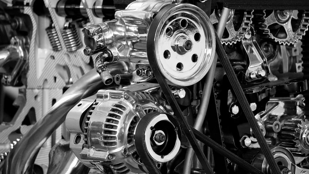 Black and White Picture of Car Engine