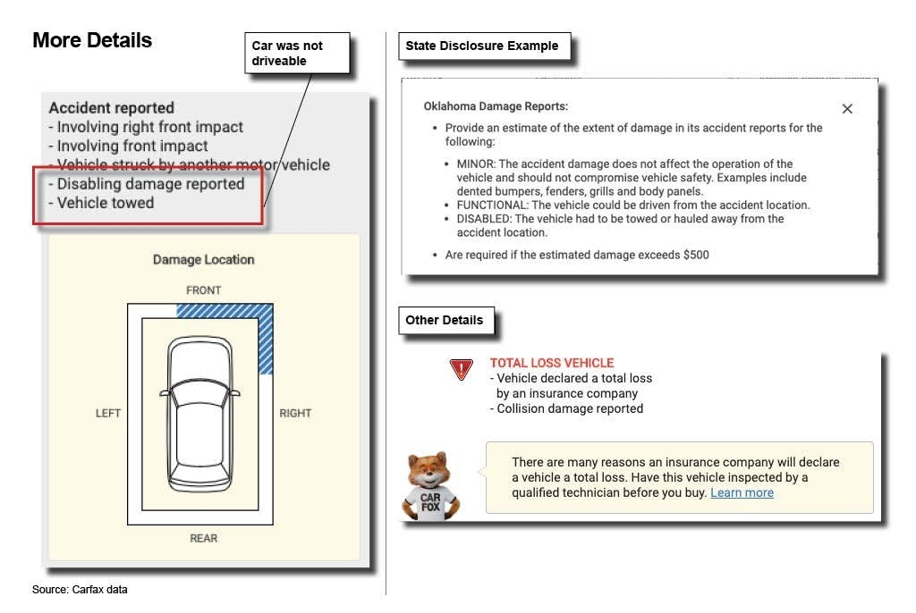 How to Read Accident Information on a CARFAX Vehicle History Report