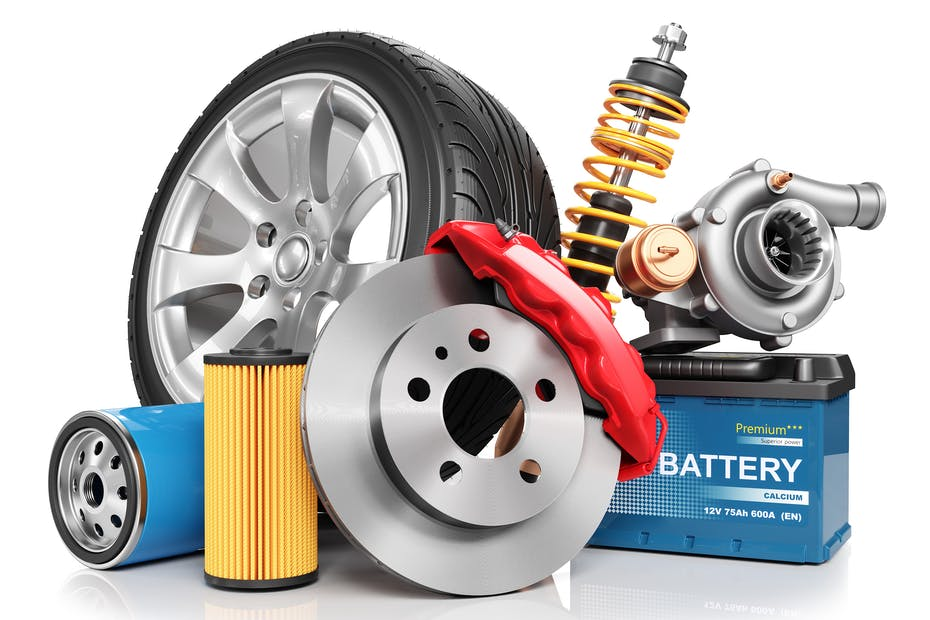 Set of car tuning parts isolated on white background 3d render