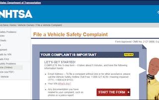 Screenshot of NHTSA Complaint Website
