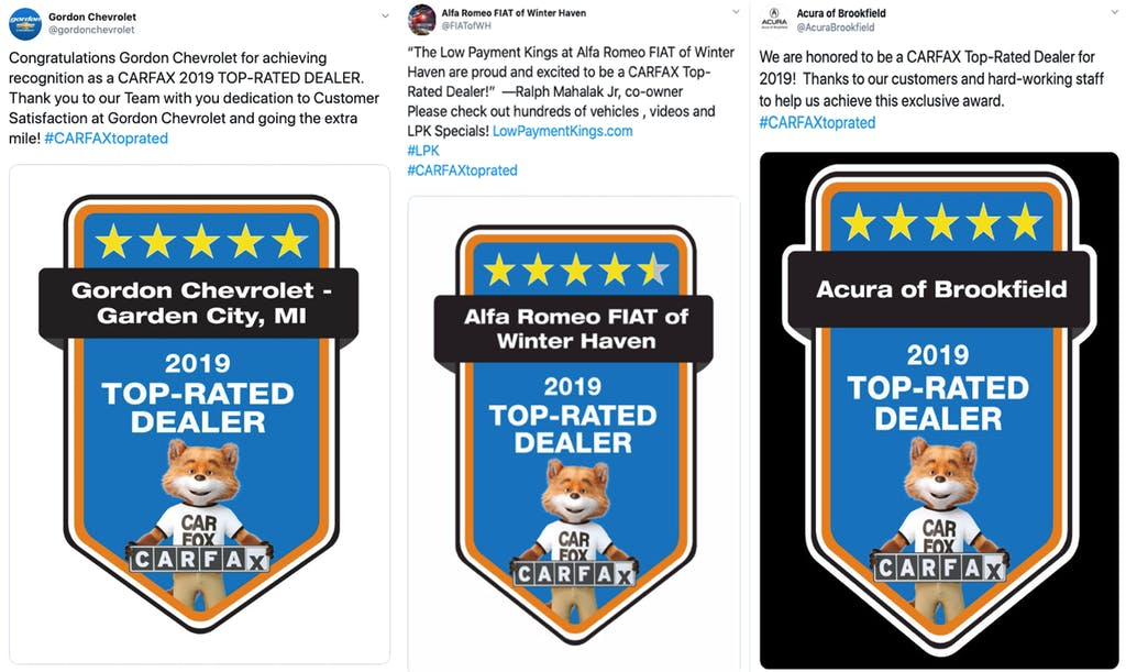 Carfax Top-Rated Dealer Tweets