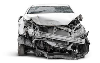 crashed car front damage