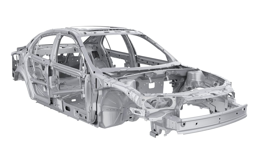 Unibody Car Chassis Frame Isolated