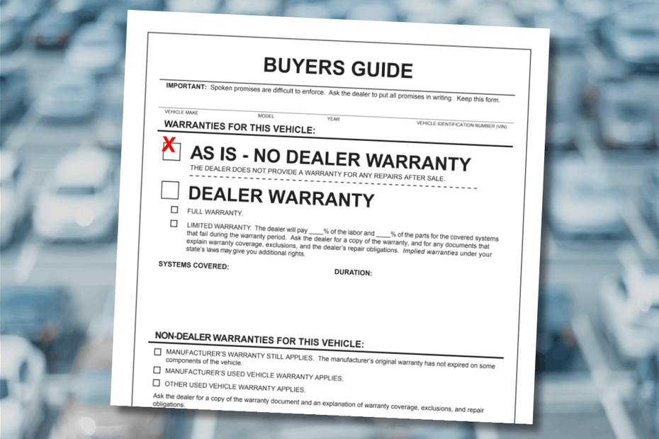 As Is Used Car Buyers Guide