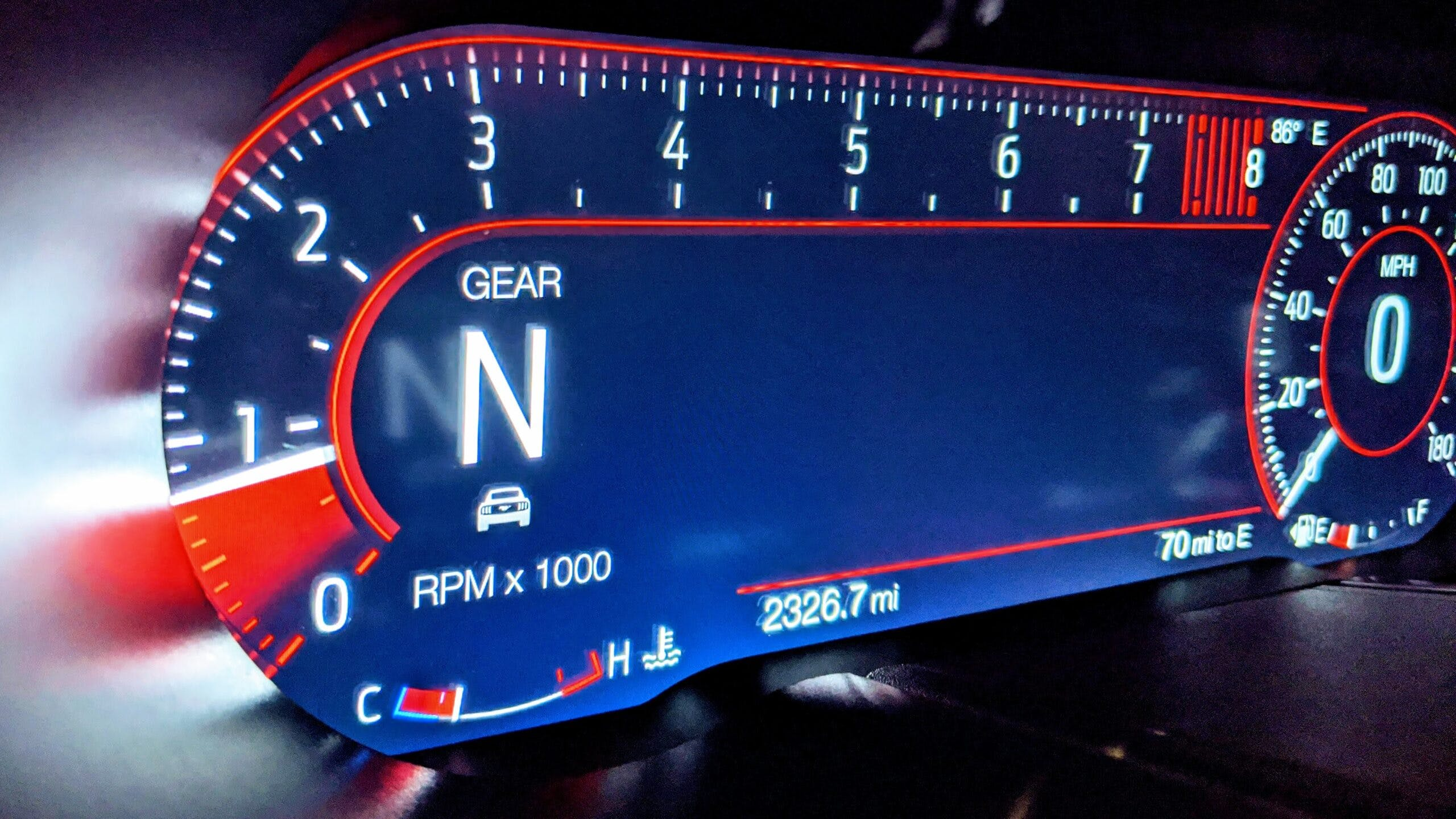Tachometer Showing RPM in a Ford Mustang