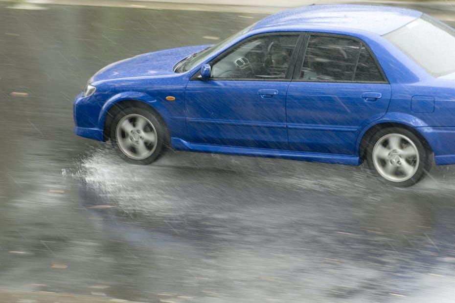 Car hydroplaning