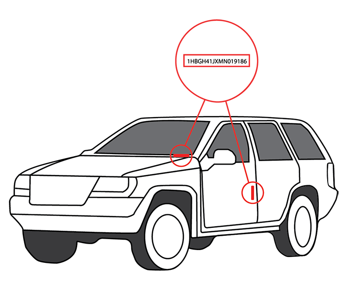 Location of a VIN on a Car