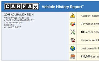 Sample Carfax Vehicle History Report